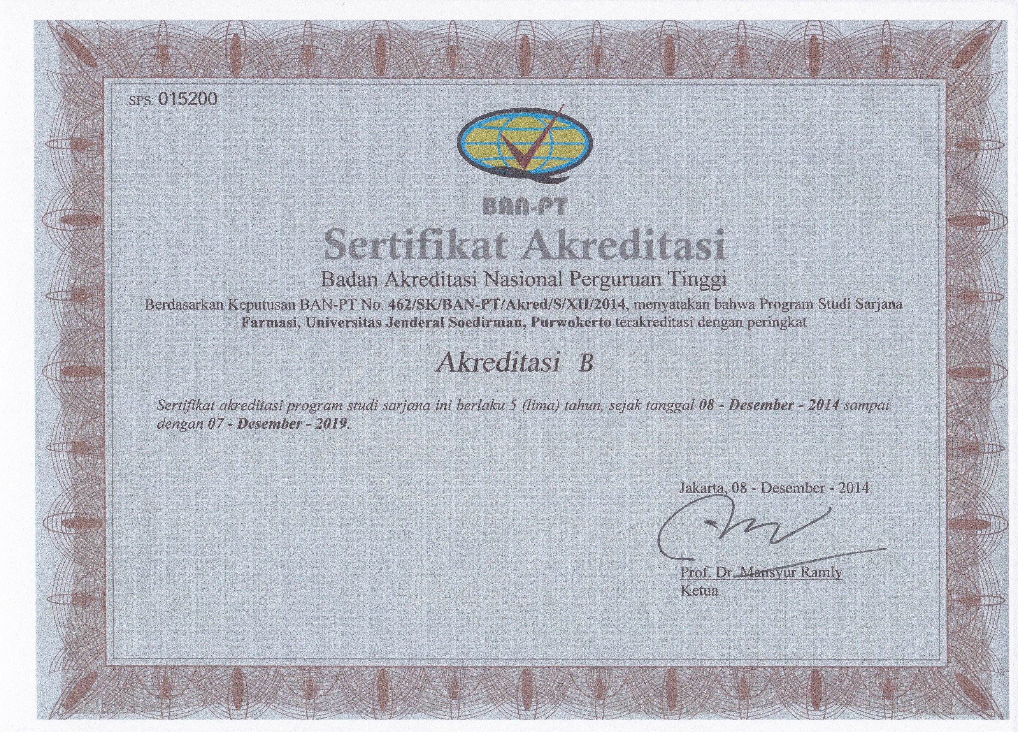 Akreditasi Jurusan Farmasi Dan Program Studi Profesi Apoteker Universitas Jenderal Soedirman